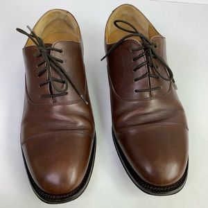 Lands End Brown leather oxford shoes 9.5EE